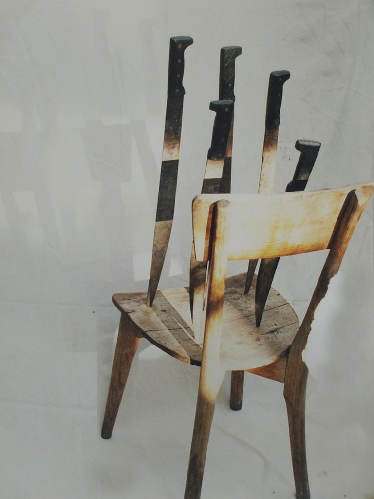 Art Object. Simon Levy. Wooden Chair. Machetes.