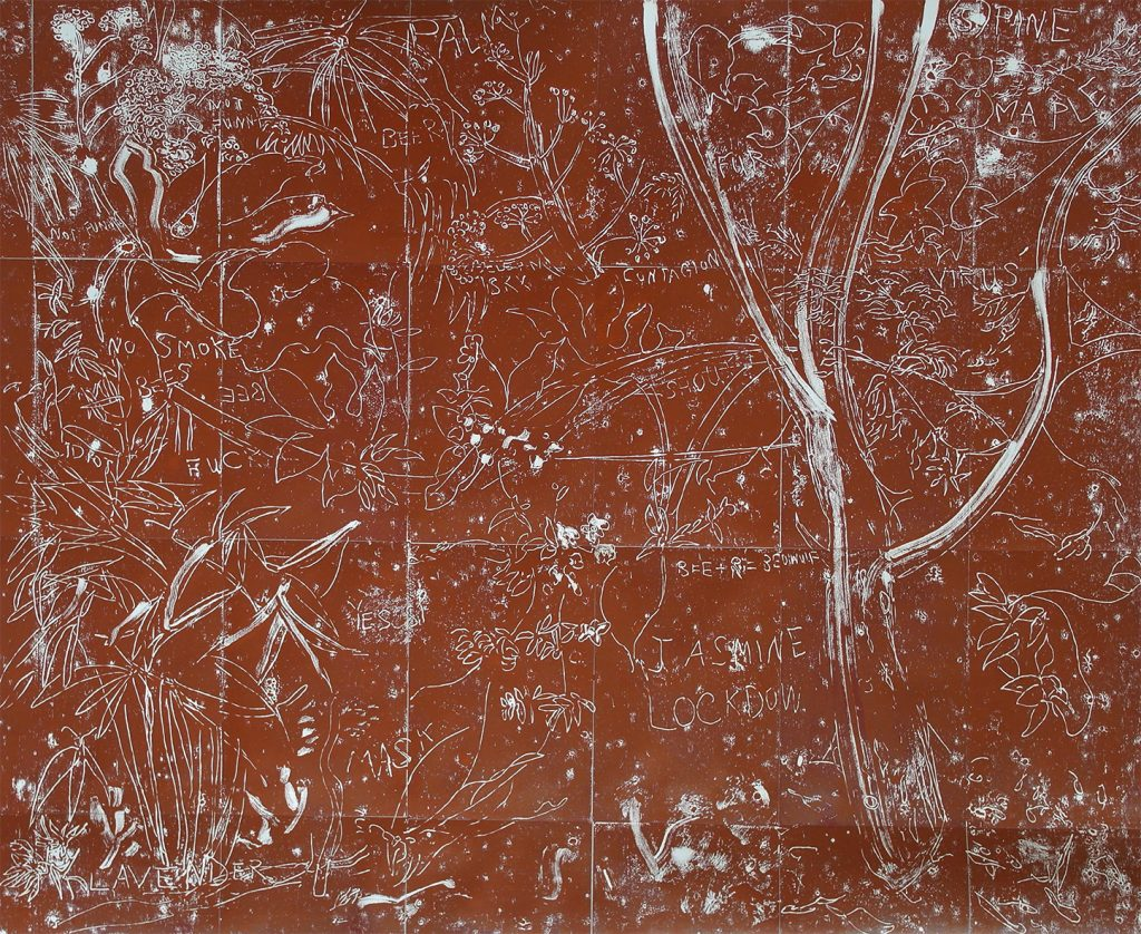 Lockdown Jasmine. Mono-type. 88cm x 72cm. Printed from copper plate. Charbonnel red ochre.