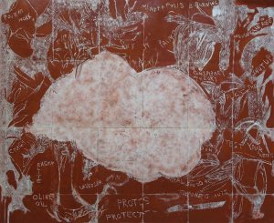 Lockdown Cloud. Mono-type. 88cm x 72cm. Printed from copper plate. Charbonnel red ochre.