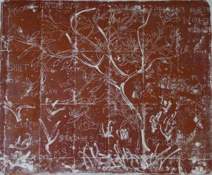 Lockdown Pine Tree. Mono-type. 88cm x 72cm. Printed from copper plate. Charbonnel red ochre.