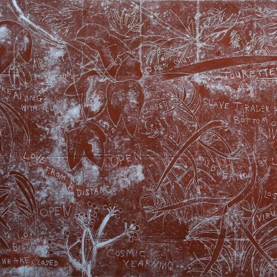 Lockdown: Slave Trader At The Bottom Of The River. Mono-type. 88cm x 72cm. Printed from copper plate. Charbonnel red ochre.