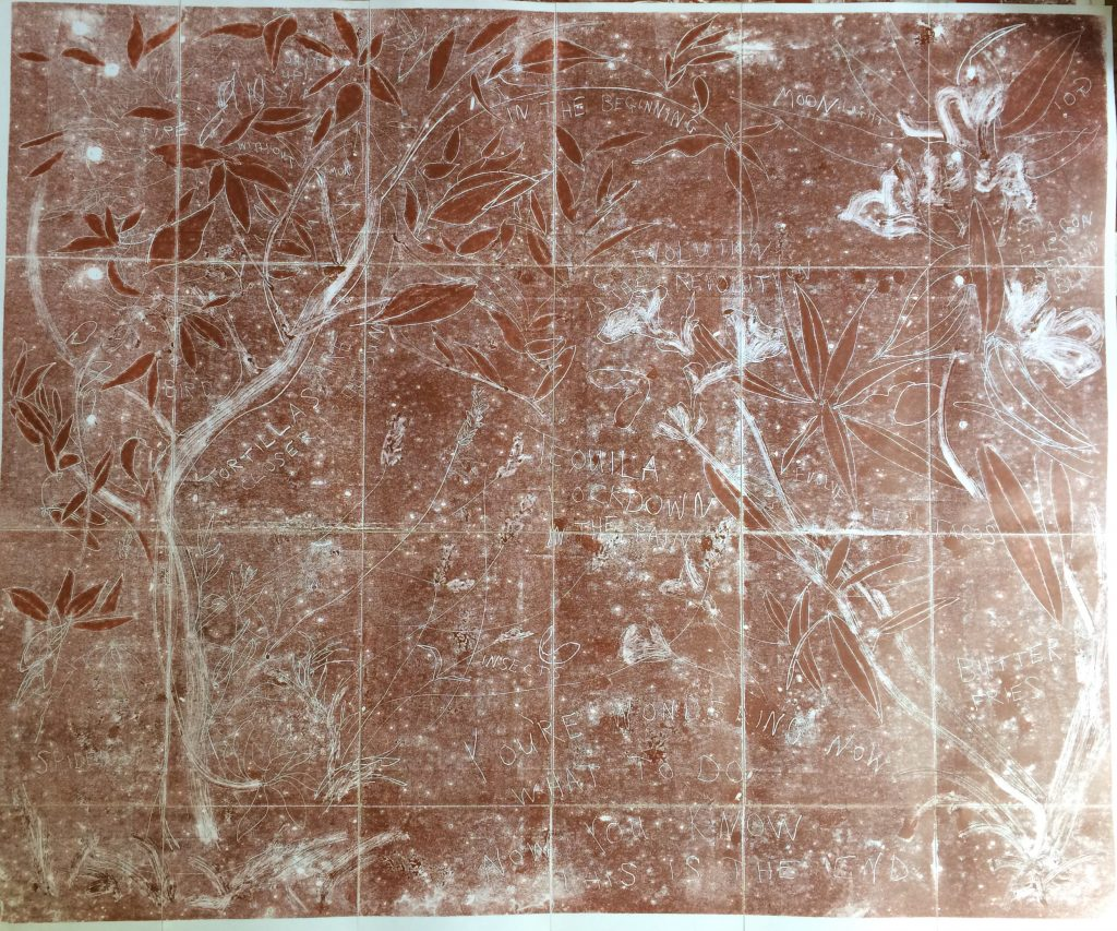 Mono-type. 88cm x 72cm. Printed from copper plate. Charbonnel red ochre.